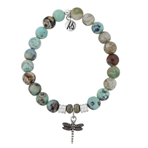 Turquoise Jasper Stone Bracelet with Dragonfly Sterling Silver Charm