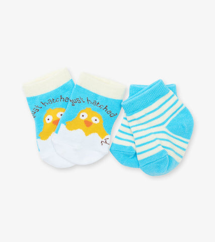 "Blue""Just Hatched"" Set of 2 Baby Socks"