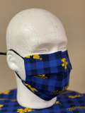 Women's University of Michigan Plaid Adjustable Face Mask With Wire