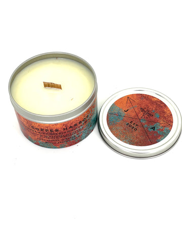 Copper Harbor 16 oz Tin Candle With Wooden Wick