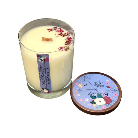 Wildflowers 16 oz Highball Glass Candle With Wooden Wick