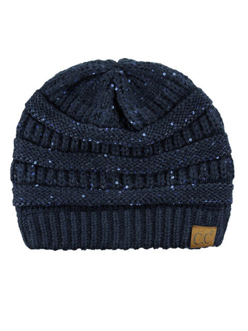 Navy Sequin Knitted Beanie Hat