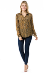 Gold Aztec Print Button Up Blouse