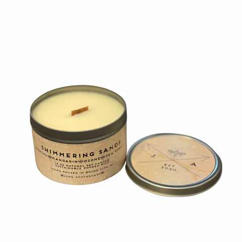 Shimmering Sands 16 oz Tin Candle With Wooden Wick