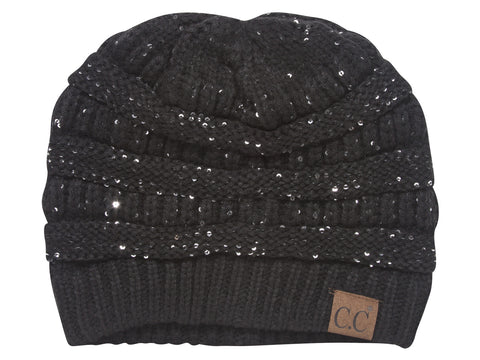 Black Sequin Knitted Beanie Hat