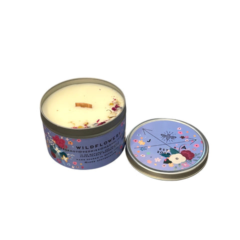 Wildflowers 16 oz Tin Candle With Wooden Wick