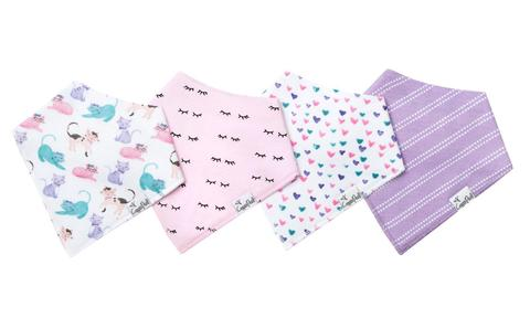 Sassy Cat Baby Bandana Bib Set of 4