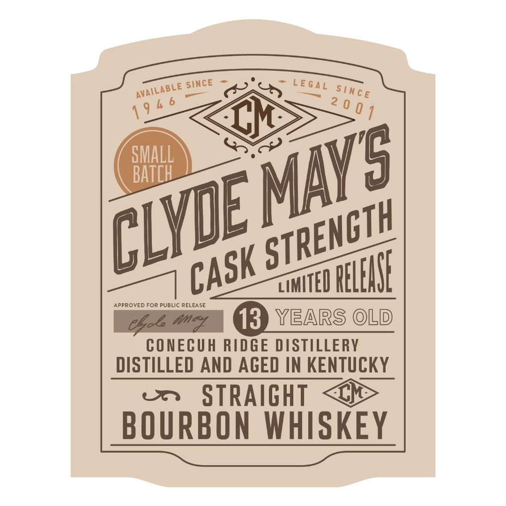 Clyde Mays Cask Strength 13 Year Straight Bourbon Whiskey Clyde May's