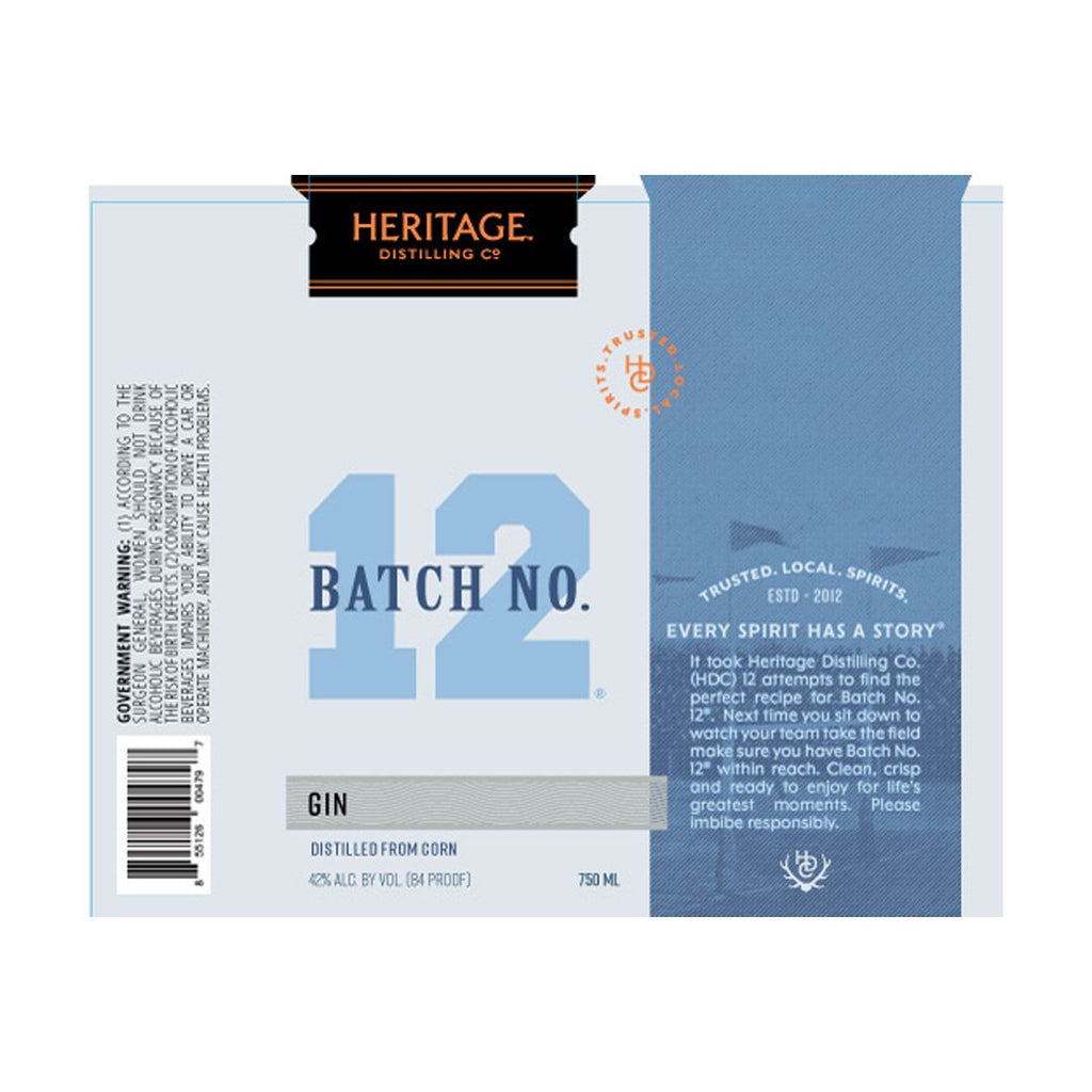 Heritage Distilling Batch No 12 Gin Gin Heritage Distilling Co.