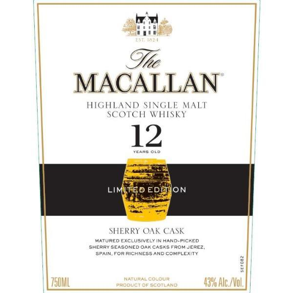 The Macallan 12 Year Old Sherry Oak Limited Edition Scotch The Macallan