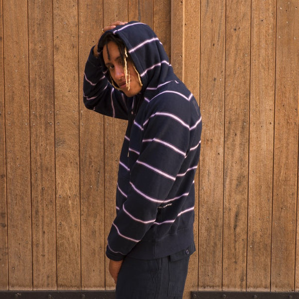 POP TRADE COMPANY STRIPED HOODED SWEAT (POPAW20-01-001)