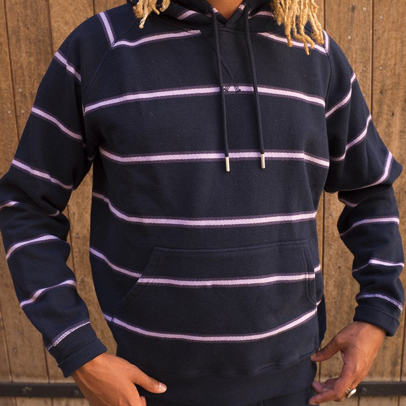 Pop Trading Company Striped Hooded Sweat (Navy/Purple)