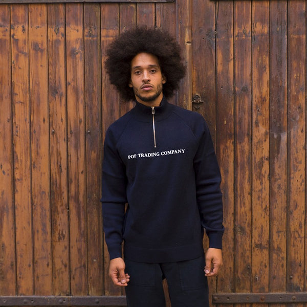 POP TRADE COMPANY KNITTED HALFZIP (NAVY)