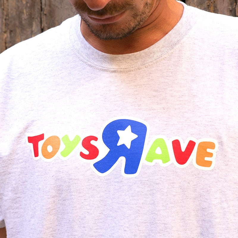RAVE SKATEBOARDS TOYZ AND RAVE TEE (ASH GREY