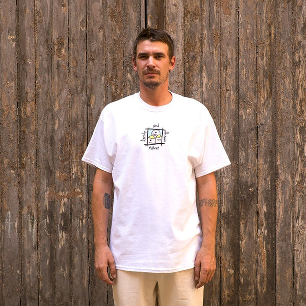 RAVE SKATEBOARDS FRIENDS AND FAMILY TEE (WHITE)