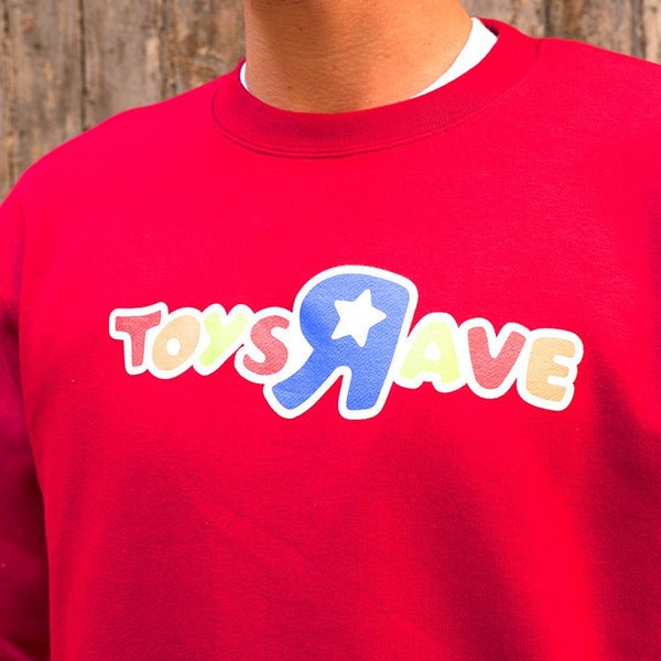 RAVE SKATEBOARDS TOYS AND RAVE CREWNACK (RED)