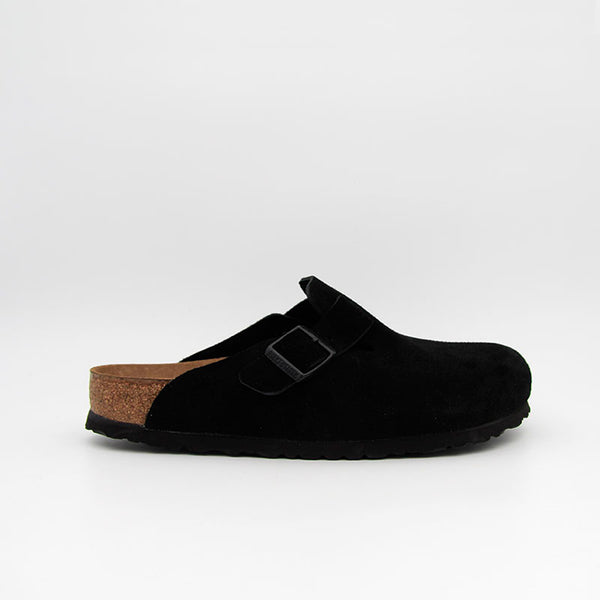 Birkenstock Sabots Boston SFB Suede Leather Black Women