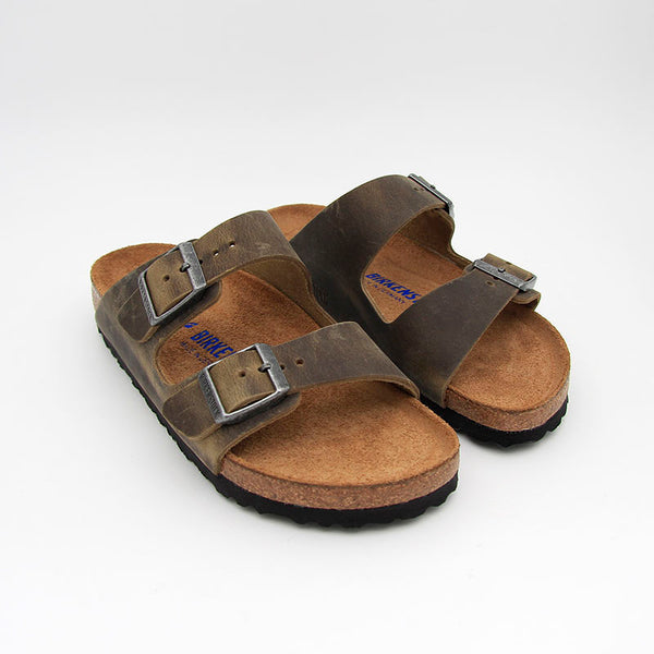 Birkenstock Sandales Arizona SFB Oily Leather Faded Kaki Women