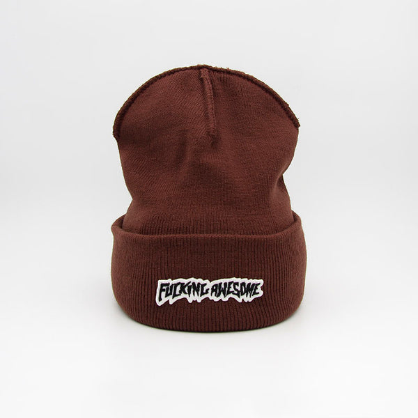 Fucking Awesome Little Stamp Cuff Beanie Brown