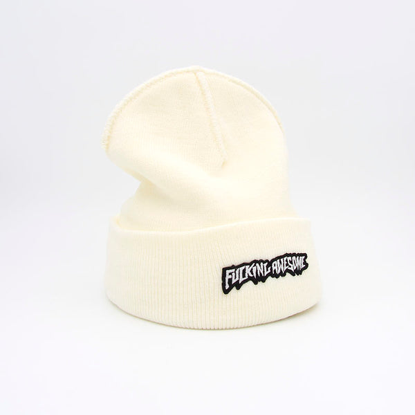Fucking Awesome Little Stamp Cuff Beanie Ivory