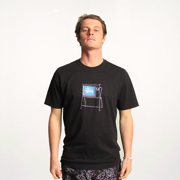 Stussy Rolling TV Pig Dyed Tee Black