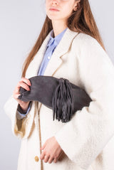 Blanca long beach camel - pochette in pelle marrone