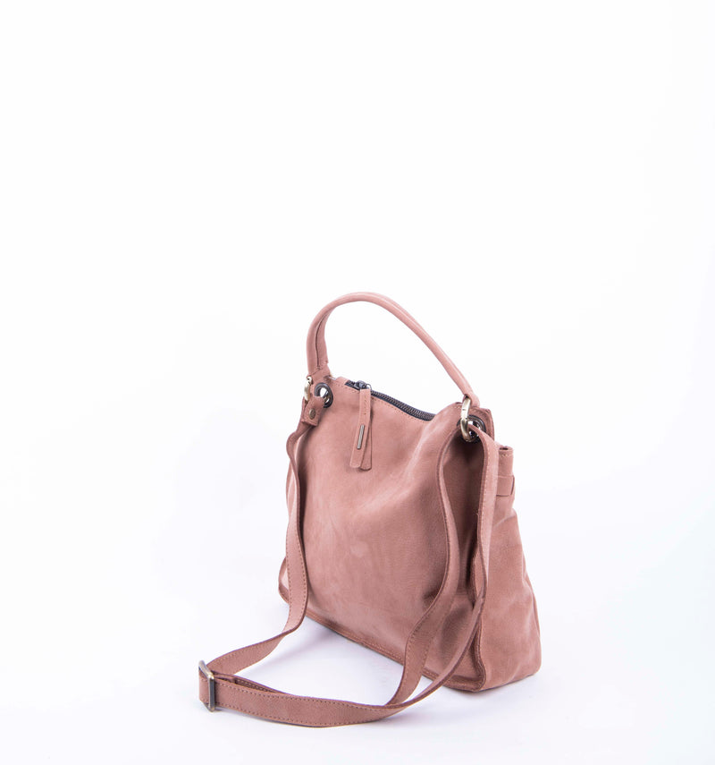 Sandy long beach cammeo - borsa a tracolla piccola in pelle naturale rosa