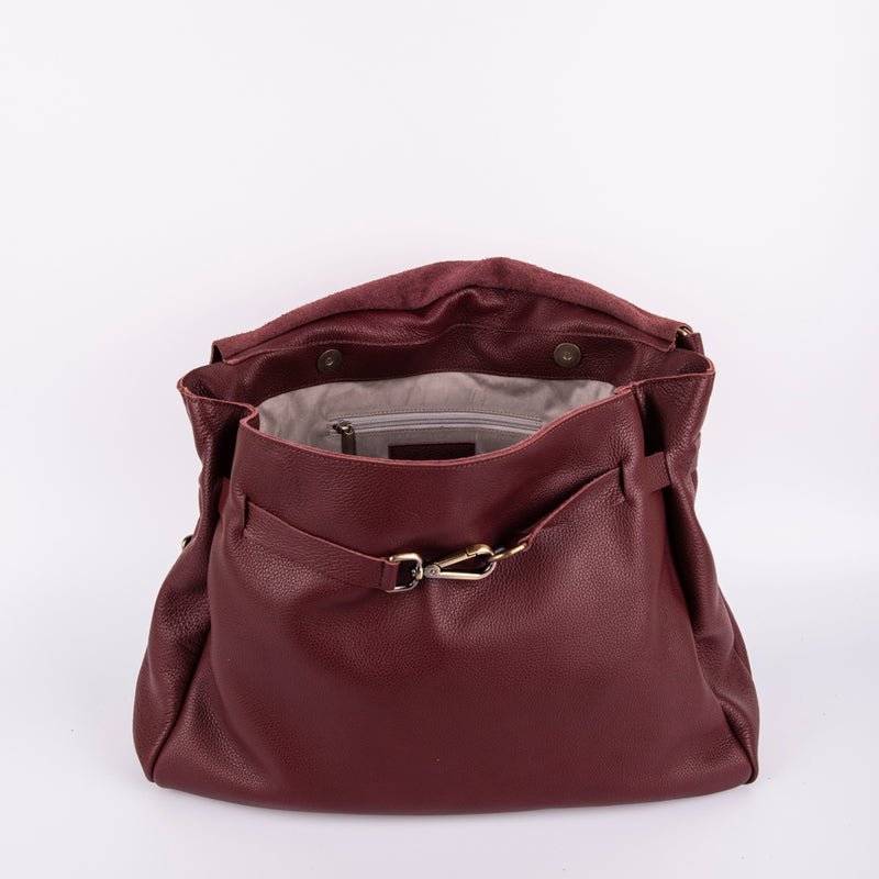Carrie new york rubino - borsa a tracolla grande in pelle bordo