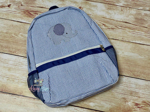 Personalized Blue seersucker backpack with Elephant