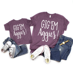Gigem Aggies Game Day shirt, Texas A&M Family shirts, vinyl shirt, crew neck triblend tee, color options, Aggie Football game day shirt