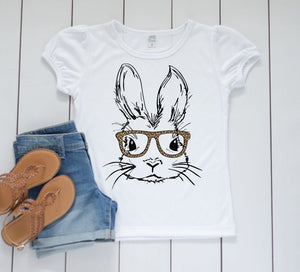 Girls Easter Shirt, Bunny with leopard glasses Shirt, Personalized Toddler Easter Shirt, Toddler Spring shirt, Easter sublimation shirt