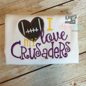 I love my crusaders shirt, UMHB football shirt, toddler or little girl, football heart shirt