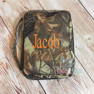 Monogrammed Camoflouge Bible Cover for Boys