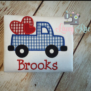 Personalized valentines boys shirt, truck and heart shirt, custom boys valentine shirt, Applique Valentine Shirt, Embroidered Boys Valentine