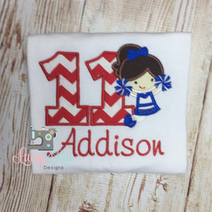 Personalized cheerleader Birthday shirt, applique any number, Cheer Birthday (Can be customized)