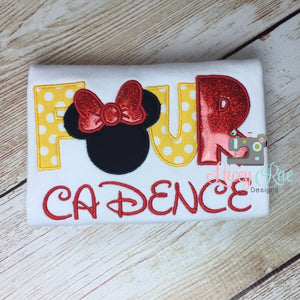 Personalized custom minnie mouse 4th birthday shirt, four, minnie applique birthday shirt