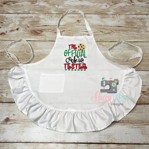 The official cookie tester Kids ruffle apron, personalized kids apron, Monogrammed kids apron, christmas apron