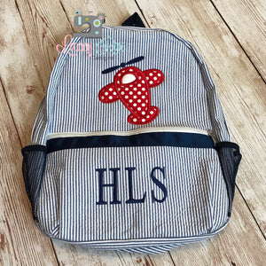 Blue Seersucker Preschool Backpack with Airplane Applique
