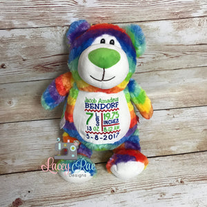 Personalized Stuffed Animal Rainbow Bear, Monogrammed, , Baby Shower Gift, Appliqué, Birth announcement, Birth stats, rainbow baby