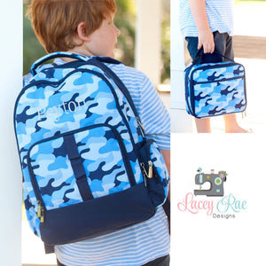 Navy Cool Camo Personalized Backpack and Lunchbox Set for Boys