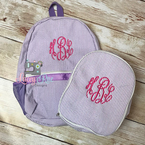 Monogrammed Seersucker Preschool Backpack