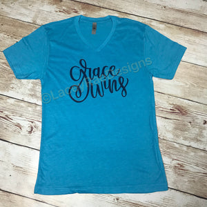 Grace Wins, Christian shirt, vinyl shirt, crew neck or v neck triblend tee, color options, faith, inspirational tee, graphic tee