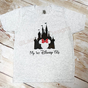 My first disney trip youth triblend tee, crew neck , color options, unisex tee, Disney shirt, disney trip shirt, family disney shirts, castl