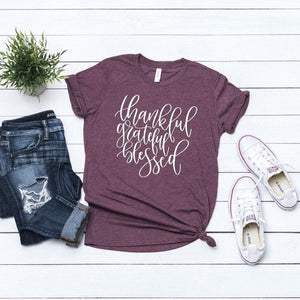 Thankful Grateful and Blessed Maroon triblend Fall tee,  vinyl shirt, crew neck triblend tee,ladies Fall shirt, Fall graphic tee, thankful