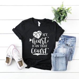 Basketball mom shirt, my heart is on the court, crew neck or v neck triblend tee, color options, Ladies graphic tee, Womens Tee, mom shirt