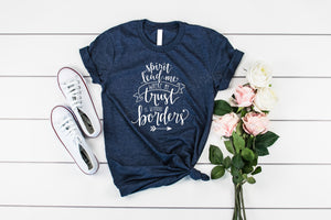 Spirit Lead me where my trust is without borders, Christian grapic tee shirt, crew neck or v neck triblend tee, color options, faith