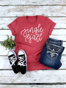 Jingle Yall Ladies Christmas Shirt, Tri-blend tee, crew or v-neck, Women's Christmas Tee, Christmas Graphic Tee