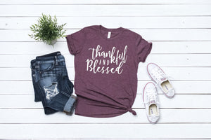 Thankful and Blessed Maroon triblend Fall tee,  vinyl shirt, crew neck triblend tee,ladies Fall shirt, Fall graphic Tee, thankful