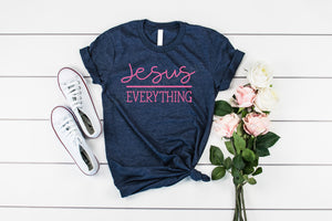 Jesus over Everything Valentines Day Ladies Christian quote shirt, crew or v-neck, Women's Valetines Tee, Christian Graphic Tee, Scripture