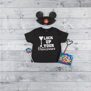 Lock up your princesses youth triblend tee, crew neck , color options, boys tee, Disney shirt,  Boys disney shirt